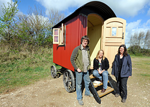 Tracy Chevalier with shepherds hut